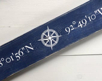 Wooden Sign, Wall Art, Coordinate Sign, Latitude Longitude Sign, Compass, personalized, Home Decor, Address Sign, Home, Gift, Customized