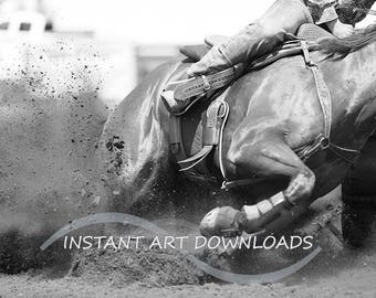 Rodeo Horses, Barrel Racing, Horse Wall Art, Horse Pictures, Cowboy Art, Black and White Photography, Digital Download, Oversized Printables
