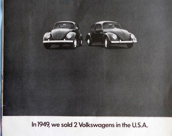 1970 VW Bug ad.  1970 Volkswagen Beetle ad.  Vintage 1949 VW Bug photo.  Life Magazine.  December 28, 1969.