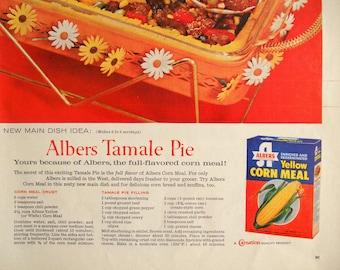 Albers Yellow Corn Meal ad.  1960 Albers Corn Meal ad.  Albers Tamale Pie recipe.  Full color. Life Magazine.  April 18, 1960.