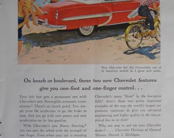 1953 Chevrolet Bel Air ad.  1953 Chevy Bel Air convertible.  Vintage Chevy Bel Air ad