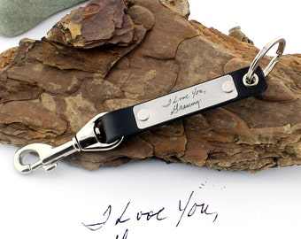 Personalized Handwriting Keychain, Actual Handwriting, Custom Key Fob, Leather Keychain, Custom Keychain, Cristmas Gift, Personalized Gift