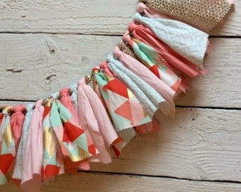 Coral mint gold high chair banner, pink mint coral high chair banner, fabric garland