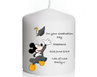 Personalised Disney Mickey Mouse Graduation Candle Gift KeepsakeMortar Board, University, College, School, Teacher