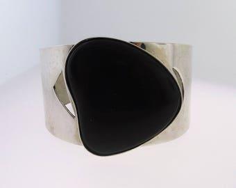 Vintage Dark Green Onyx Cuff Bracelet- Sterling Silver