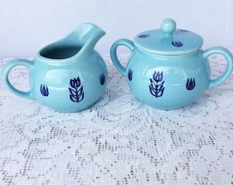 Mid Century Cronin Blue Tulip Pattern Creamer and Sugar Bowl
