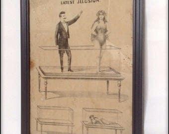 Aged reproduction Victorian magician Ventruini illustration in frame.