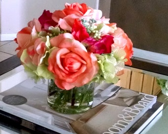 Faux Floral Arrangement-Real Touch Roses-Autumn Arrangement- Flower Arrangement-Fall flowers-Silk Flowers in Home Decor