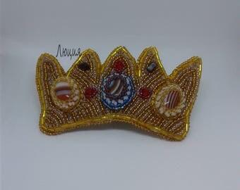 "Barrette beaded ""Gold Crown"". Barrette. Hairclip-automatic bead. OOAK barrette"