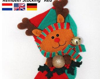 Reindeer Christmas Stocking  - Crochet Pattern