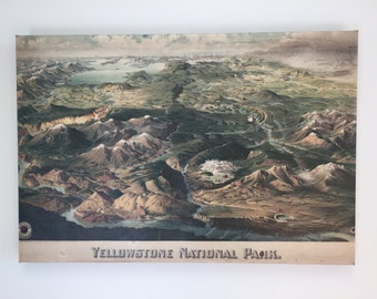 Yellowstone Vintage Map Canvas Giclee