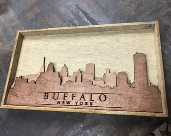 Rustic wood 3D Buffalo, NY skyline