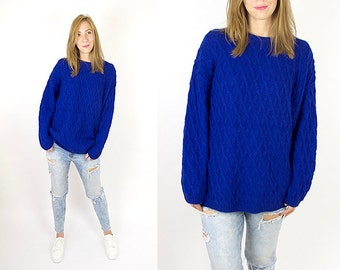 Vintage Cobalt Blue Oversized Cable Chunky Knit Sweater