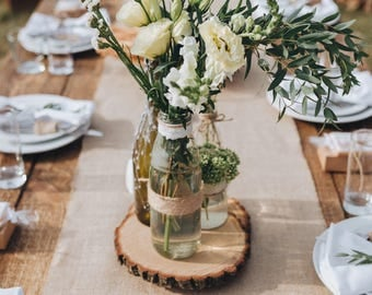 """9"""" Set of 15! Tree slices! wedding centerpieces, wood slice decor, arts and crafts, wood rounds, wood slice centerpieces, wood stump."""