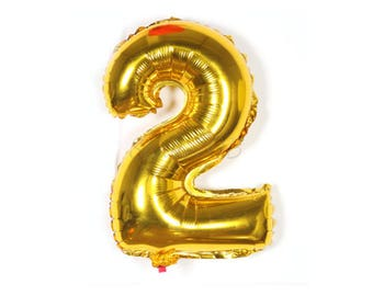 "40cm Number 2 Gold Foil Balloon / Two / 16"" Gold Mylar Balloon / 2nd Birthday Party Decor / 2nd Anniversary / Gold Party Decor / Photo Prop"