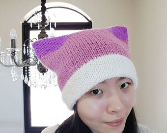 Double Brim Cat Beanie - White brim with pink and purple ears