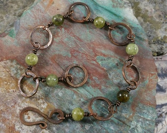 Green garnet and copper bracelet
