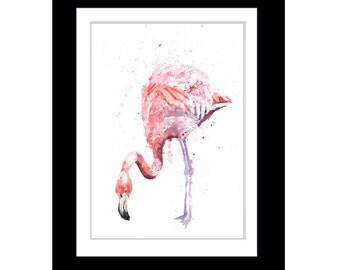 FLAMINGO PINK limited PRINT of original art watercolour painting by Helen Rose 340