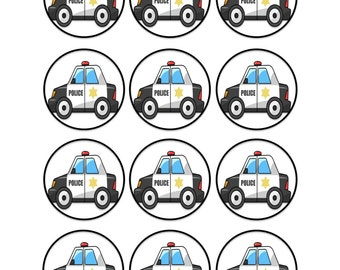 Edible Police Car Cupcake Cookie Toppers