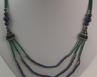 All hand drilled Malachite Stone, German Silver, handmade, and Lapis Lazuli Necklace