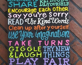 Colorful house rules wood sign