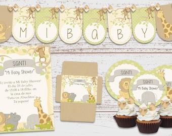 Kit printable luxury Jungle animals Birthday Parties Baby baptism 1 year baby Shower custom invitations Candy Bar