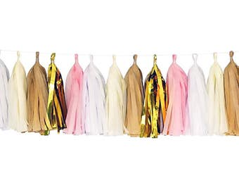 Pink + White + Ivory + Tan + Metallic Gold | Tassel Garland | Metallic Tissue Tassel Garland | FOLI + LO