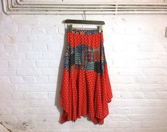 Vintage 1970s Red Polka Dot and Patchwork Maxi Skirt - Small Size UK 6 EU 36 Us 6 - Boho Bohemian Hippie