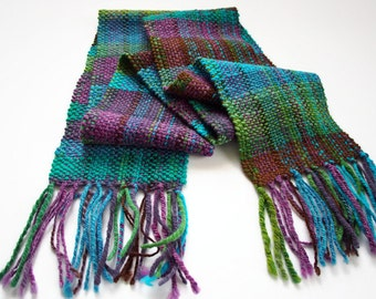 blue brown green purple handwoven scarf, hand woven winter scarf, tartan scarf, hand spun wool, mother's day gift, winter scarf by SpunWool