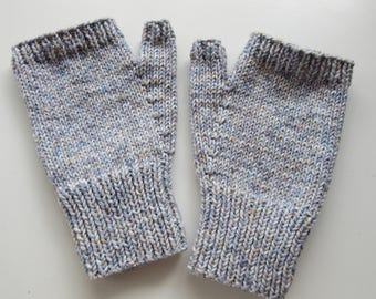 Stylish hand knitted cotton blend fingerless mitts - size M