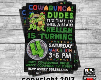 COWABUNGA Dudes! Teenage Mutant Ninja Turtles Birthday Invitations!