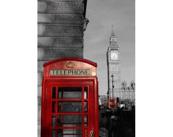 Telephone cabin with Big Ben in the background, London - black & white and color - photography - unframed print