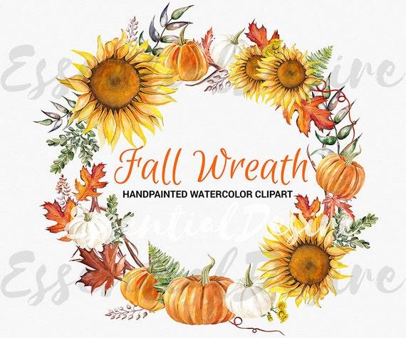 Thanksgiving Clipart Fall Wreath Handpainted Illustration