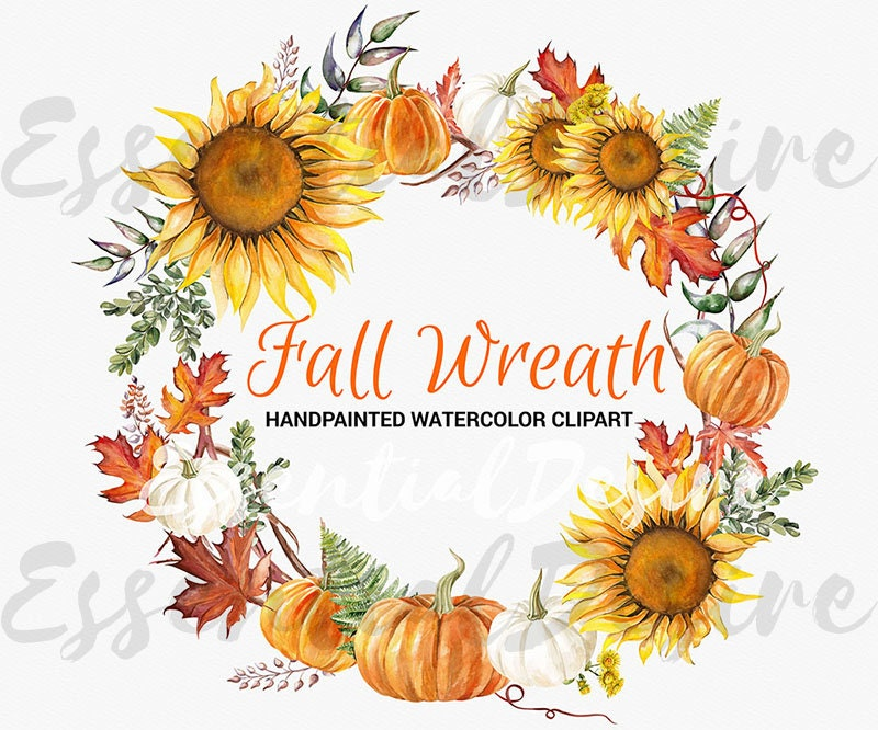 Thanksgiving Clipart Fall Wreath Handpainted Illustration