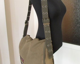 Vintage Large Canvas Bag, Travel Bag, School Bag, Green Shoulder or Crossbody Bag, Military/Army Shoulder Bag, Canvas Messenger Bag