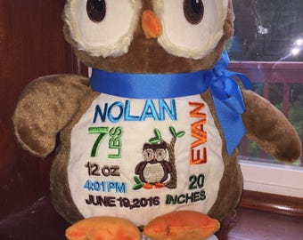 18 inch personalized stuffed owl