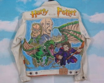 Kid's blue jean jacket K4U-Creations Motif Harry Potter hand-painted upcycled