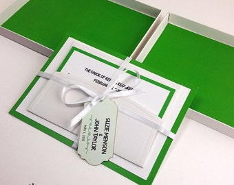 Green Color Boxed Wedding Invitations, Color Wedding Invitations, Couture Invitations, Box Wedding Invitations, Green Color, 1 INVITATION