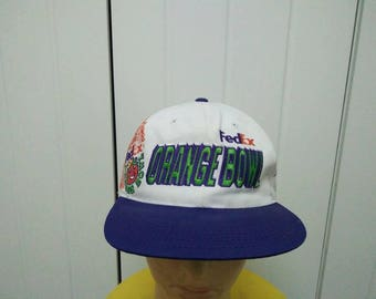 Rare Vintage Sports Specialities FEDEX ORANGE BOWL Big Logo Spell Out Cap Hat Free size fit all