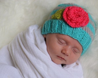Baby Girl Flower Hat, Knitted Baby Girl Beanie, Newborn Photo Prop Hat, Girl Baby Shower Gift, Coming Home Outfit, Striped Spring Infant Hat