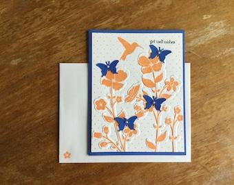 Butterflies and Flowers Get Well Card
