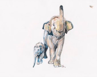 Dok Rak and Dok Mai- Original Pencil on Paper HELP ELEPHANTS