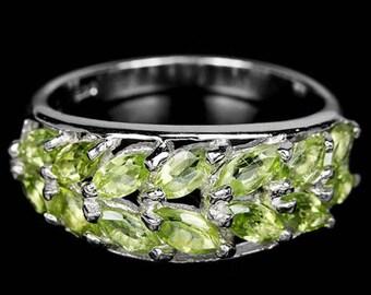 Fine Ring Silver et molten glass green péridot !