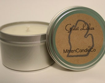 Great Lakes Scented Soy Candle Tin or Wax Melt - Spring & Summer Scent! Calming - Men's Scent - Michigan, Huron, Erie, Ontario, Superior