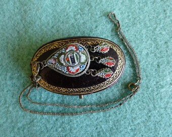 Vintage Micro Mosaic pendant with chain and box. 1930s Grand Tour Souvenir from Roma