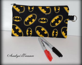 Batman Pencil Case, Batman Pencil Pouch, Pencil Pouch, Pencil Case, Handmade Pencil Pouch, Batman, Cosmetic Bag, Coin Purse