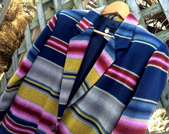 Vintage First Option Southwestern Blazer, Blanket Coat, Size Small, Blue ,Yellow, Pink