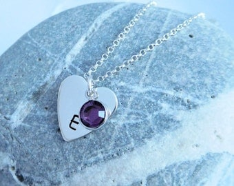 Silver Heart Shaped Necklace with Initial and Birthstone Crystal, Hand Stamped Heart Shaped Pendant with birthstone, Mother's Day Necklace
