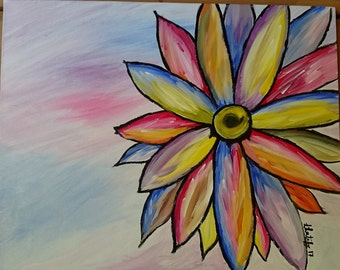 "Original Handmade Acrylic Colourful Daisy Flower Painting 16x20"" on Stretched Canvas Wall Art"