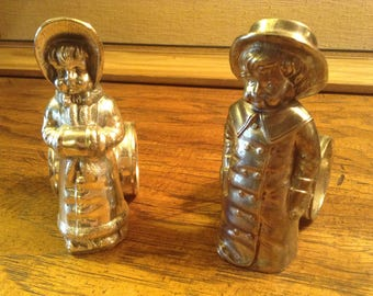 Vintage Figural Napkin Rings Boy and Girl 1970's